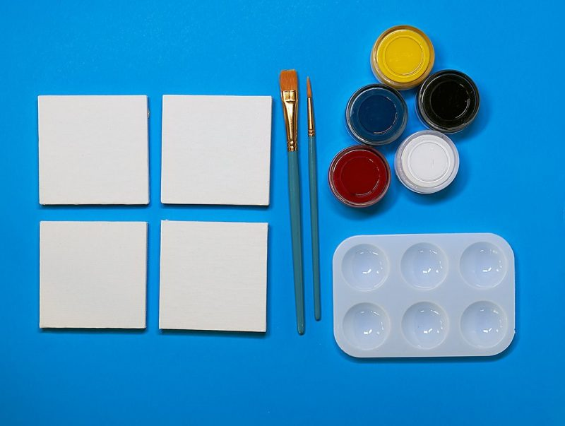 painting supplies and mini canvases